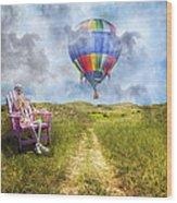 Sam Contemplates Ballooning Wood Print