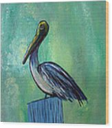 Sam The Pelican Wood Print