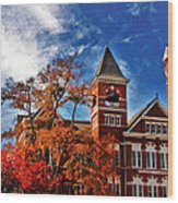 Samford Hall In The Fall Wood Print by Victoria Lawrence
