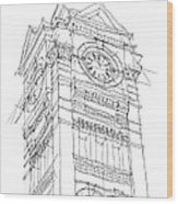 Samford Hall Sketch Wood Print
