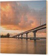 Samoa Bridge At Sunset Wood Print