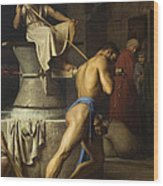 Samson And The Philistines Wood Print
