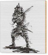 Samurai Complete Armor Warrior Steel Silver Plate Japanese Painting Watercolor Ink G Wood Print