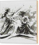 Samurai Sword Bushido Katana Martial Arts Budo Sumi-e Original Ink Painting Artwork Wood Print