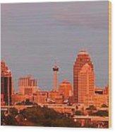 San Antonio - Skyline At Last Light Wood Print