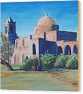 San Antonio Mission Wood Print