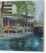 San Antonio Riverwalk Cafe Wood Print by Stefon Marc Brown