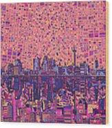San Antonio Skyline Abstract 5 Wood Print