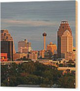San Antonio - Skyline At Sunset Wood Print