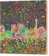 San Antonio Skyline Watercolor 5 Wood Print