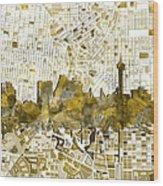 San Antonio Skyline Watercolor 7 Wood Print