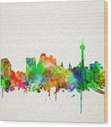 San Antonio Skyline Watercolor Wood Print