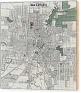 San Antonio Texas Hand Drawn Map  1909 Wood Print