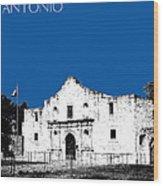 San Antonio The Alamo - Royal Blue Wood Print
