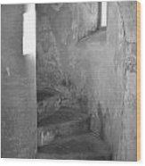 San Christobal Staircase- Black And White Wood Print