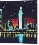San Diego By Black Light Wood Print