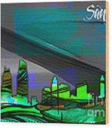 San Diego California Skyline Watercolor Wood Print