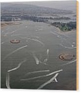 San Diego Mission Bay Water Aerial Wood Print