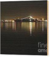 San Diego Navy Harbor Night Wood Print