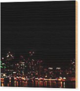 San Diego Night Skyline Wood Print