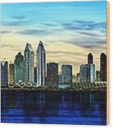 San Diego Skyline And Coronado At Dusk U.s.a Wood Print by John YATO