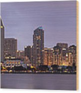 San Diego Skyline At Dusk Panoramic Wood Print