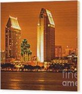San Diego Skyline At Night Along San Diego Bay Wood Print