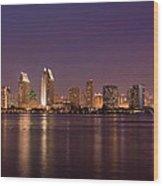 San Diego Skyline At Night Wood Print