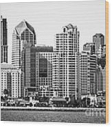San Diego Skyline In Black And White Wood Print