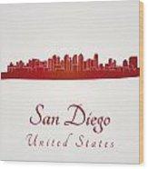 San Diego Skyline In Red Wood Print