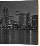 San Diego Skyline Monochrome Wood Print