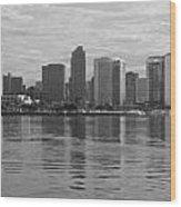 San Diego Skyline Sunrise Monochrome Wood Print