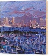 San Diego Skyline With Marina At Dusk Wood Print