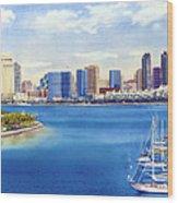San Diego Skyline With Meridien Wood Print