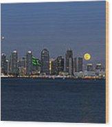 San Diego Super Moon Wood Print