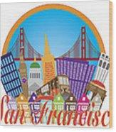 San Francisco Abstract Skyline Golden Gate Bridge Illustration Wood Print