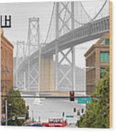 San Francisco Bay Bridge And Bay Quackers Wood Print