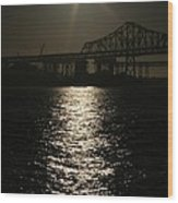 San Francisco Bay Bridge Construction Under The Moonlight Wood Print