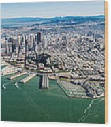 San Francisco Bay Piers Aloft Wood Print