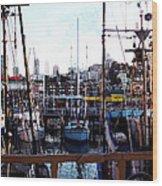 San Francisco Behind The Masts Wood Print