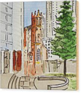 San Francisco - California Sketchbook Project Wood Print by Irina Sztukowski