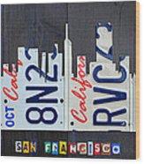 San Francisco California Skyline License Plate Art Wood Print