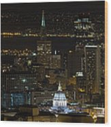 San Francisco Cityscape With City Hall At Night Wood Print