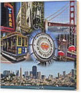 San Francisco Collage Wood Print
