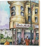 San Francisco North Beach - Watercolor Art Wood Print