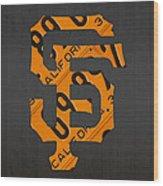 San Francisco Giants Baseball Vintage Logo License Plate Art Wood Print