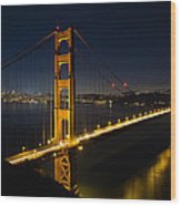 San Francisco Golden Gate Bridge At Blue Hour Wood Print