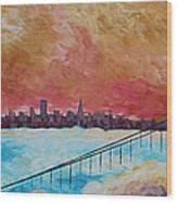San Francisco Golden Gate Bridge In The Clouds Wood Print