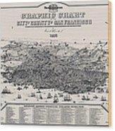 San Francisco Graphic Map 1875 Wood Print