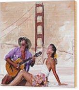 San Francisco Guitar Man Wood Print